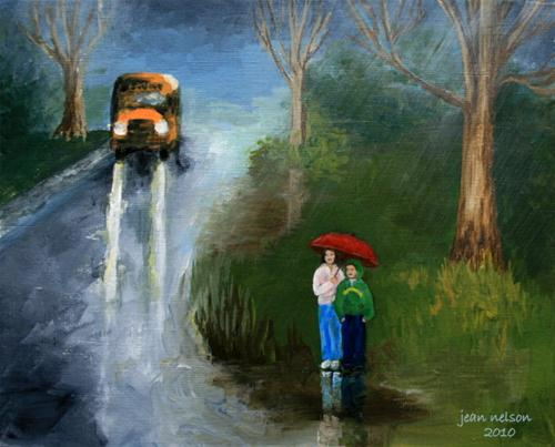 """Waiting in the Rain"" original fine art by Jean Nelson"