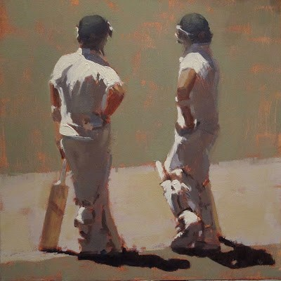 """BETWEEN OVERS - Cricket at the MCG"" original fine art by Helen Cooper"