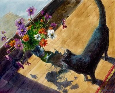 """Watercolor: Winter Cat Garden (& art-making with friends)"" original fine art by Belinda Del Pesco"