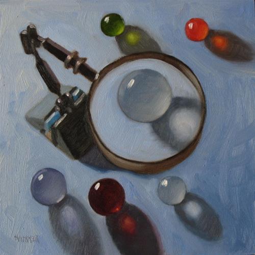 """Under Suspicion 6x6 oil on gessobord"" original fine art by Claudia Hammer"