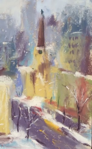 """Winter Plein Air in Chicago"" original fine art by Karen Margulis"