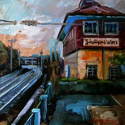 """Westbahnhof Stuttgart"" original fine art by Jurij Frey"