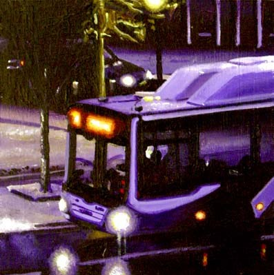 """Bus- City Scene Painting Of A Bus Passing By My Studio Late At Night"" original fine art by Gerard Boersma"