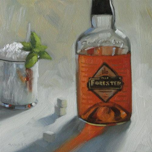 """Old Forester Mint Julep 6x6 oil"" original fine art by Claudia Hammer"
