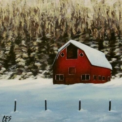 """Red Barn"" original fine art by ~ces~ Christine E. S. Code"