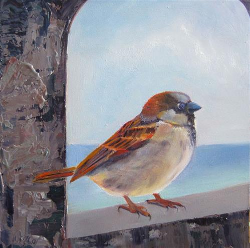 """Somewhere Beyond the Sea, Sparrow Painting by Linda McCoy"" original fine art by Linda McCoy"