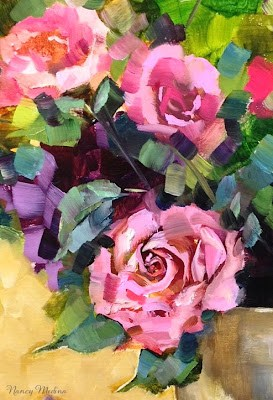"""Pink Petal Roses"" original fine art by Nancy Medina"