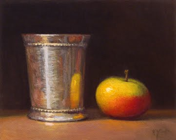 """Still Life with Silver Cup and Lady Apple"" original fine art by Abbey Ryan"