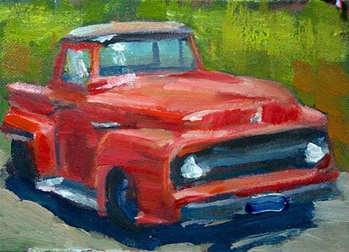 Carol's Red Truck original fine art by J. Farnsworth