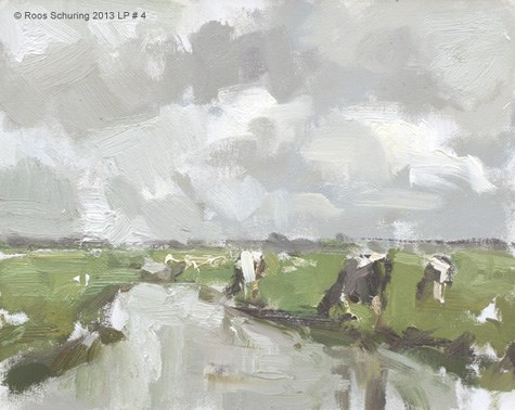 """Landscape spring 4 Cows and no blue (sold)"" original fine art by Roos Schuring"
