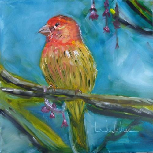 """House Finch"" original fine art by Lou Belcher"