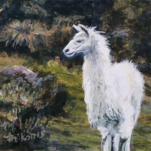 """Ecuador Memories: Alpaca"" original fine art by Michael Mikottis"
