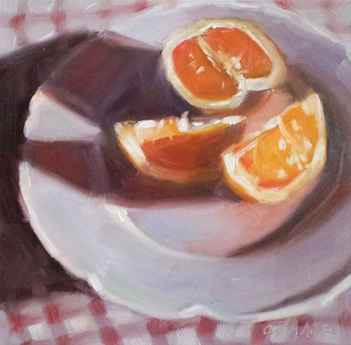 """Oranges on White"" original fine art by Cindy Haase"