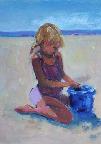 """Girl on Beach Figurative Paintings by Arizona Artist Amy Whitehouse"" original fine art by Amy Whitehouse"