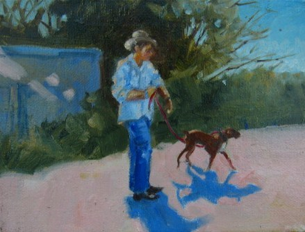 """Walking the Dog"" original fine art by Connie Snipes"