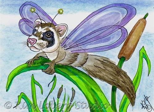 """Ferret Dragon Fly"" original fine art by Kim Loberg"