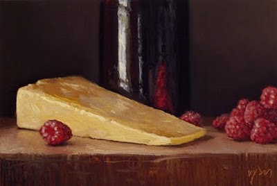 """Raspberries, Keen's Cheddar, and Tenmoku Bottle"" original fine art by Abbey Ryan"