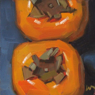 """Persimmon Blocks --- SOLD"" original fine art by Carol Marine"