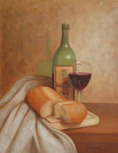 """Bread & Wine #706"" original fine art by Dee Lessard"