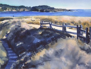 """Fence on Mendocino Headlands"" original fine art by Mariko Irie"