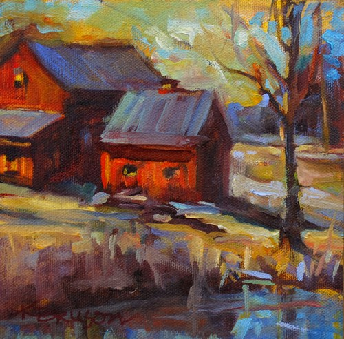 """Plein Air Barn"" original fine art by Karen Bruson"