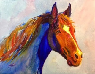 """#8/30 in 30 - War Eagle Pony"" original fine art by Lyn Gill"