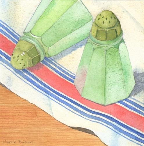 """Green Salt Shakers"" original fine art by Carole Baker"