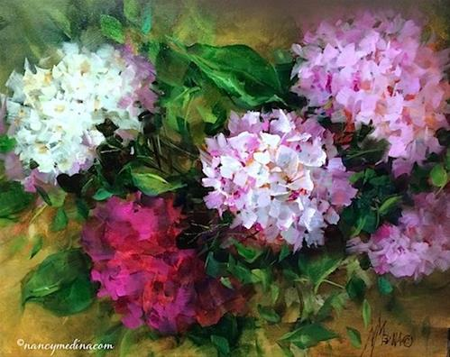"""Dusted Pink Hydrangeas, a New Sunflower DVD, and a Dallas Arboretum Workshop - Flower Paintings by N"" original fine art by Nancy Medina"