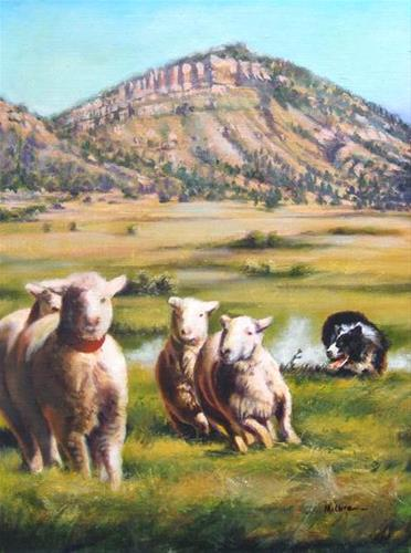 """Original Western Landscape Painting With Sheep Crossing Chalk Line by Colorado Landscape Artist Na"" original fine art by Nancee Busse"