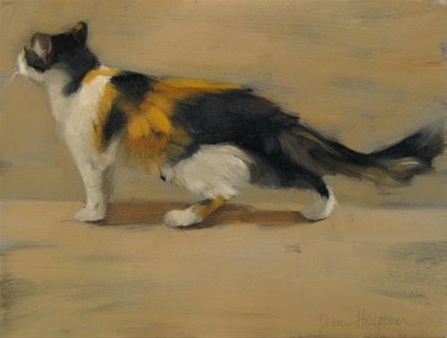"""""""Passing By long hair Calico cat painting"""" original fine art by Diane Hoeptner"""