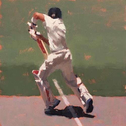 """""""BATSMAN SERIES #4 of 9"""" original fine art by Helen Cooper"""