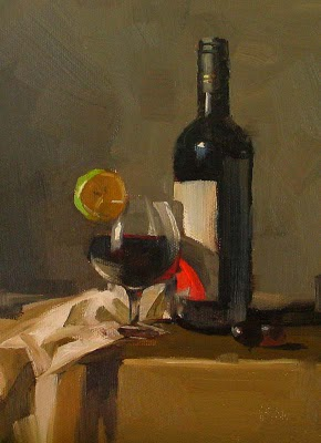 """Red Wine --- Sold"" original fine art by Qiang Huang"