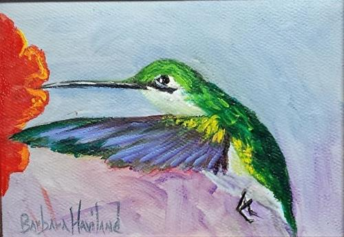"""Thalo Green Hummingbird"" original fine art by Barbara Haviland"