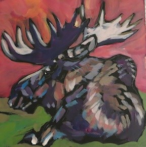 """Reclining Moose"" original fine art by Kat Corrigan"
