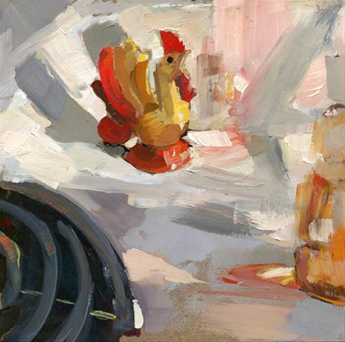 """My Rooster Salt and/or Pepper Shaker that Sits on the Stove #89"" original fine art by Lisa Daria"