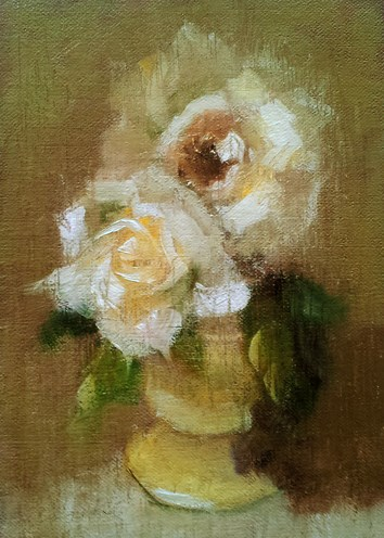 """White Roses"" original fine art by Cindy Haase"