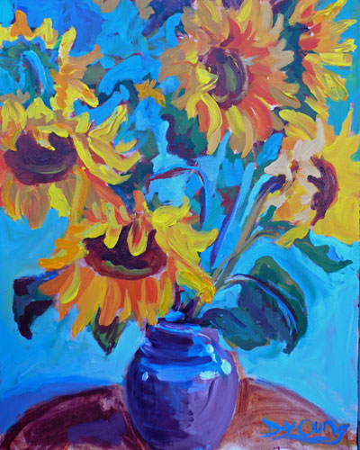 """Sunflowers in a Vase"" original fine art by Darlene Young"