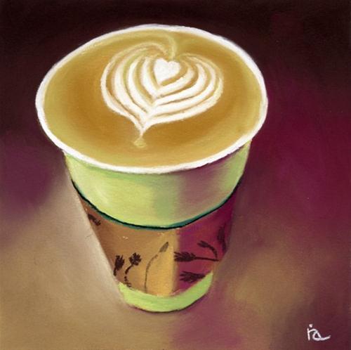 Latte pastel painting original fine art by Ria Hills