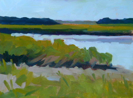 """South River Marsh 6x8 oil on Pintura panel"" original fine art by Mary Sheehan Winn"