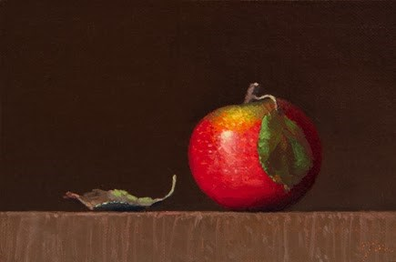 """Autumnal Apple with Leaves  (+ Peto Museum Workshop Announcement)"" original fine art by Abbey Ryan"