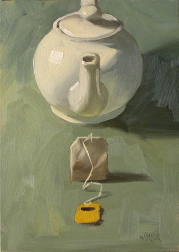 """Tea bag, Teapot  5x7  oil on board"" original fine art by Claudia Hammer"