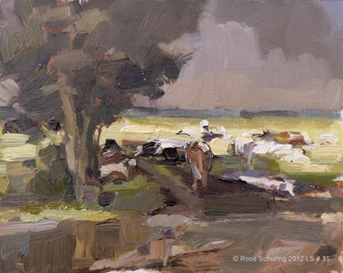 """Landscape spring #35 Light and cows"" original fine art by Roos Schuring"