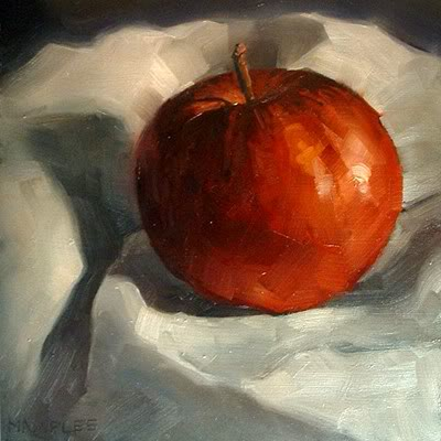 """Red Apple"" original fine art by Michael Naples"