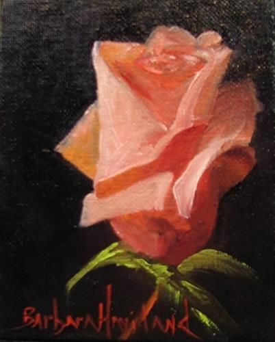 """Rose Bud #2 miniature oil painting Framed"" original fine art by Barbara Haviland"