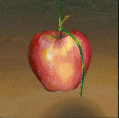"""Hanging Apple"" original fine art by Jean Wilkey"