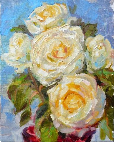 """More White Roses,still life,oil on canvas,10x8,price$300"" original fine art by Joy Olney"