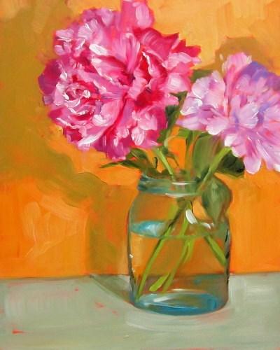"""""""Pink Peonies"""" original fine art by Sandy Haynes"""