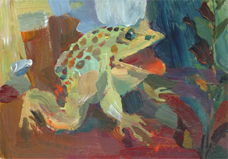 """One stroke frog"" original fine art by Theresa Taylor Bayer"
