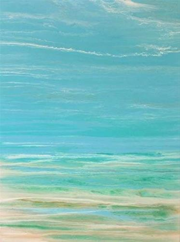"""Contemporary Beach Art, Abstract Seascape Painting, Coastal Art Whispers on the Water by Internati"" original fine art by Kimberly Conrad"