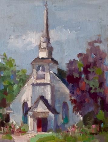 """""""High Key Church"""" original fine art by Marcia Hodges"""